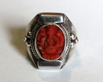 silver ring coral ganesh sacred elephant-Tibet Nepal-women or men