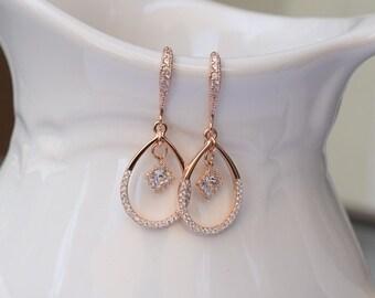 Handmade Rose Gold Cubic Zirconia Teardrop Earrings, Rose Gold Earrings, Cubic Zirconia Earrings, Wedding Earrings, Wire Earrings, E059