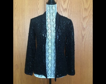 70s Gardenia Black Sequin Blazer - Disco, NYE, Holiday Glam - S