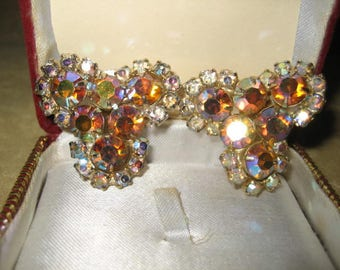 Earrings Aurora Borealis Rhinestone Clip On Earrings 50s Vintage