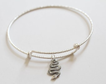 Sterling Silver Bracelet with Sterling Silver Snake Charm, Snake Bracelet, Snake Charm Bracelet, Snake Pendant Bracelet, Serpent Bracelet
