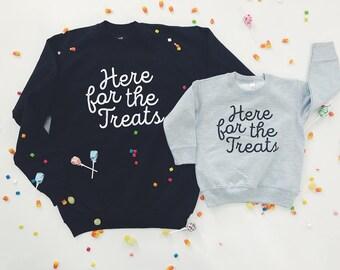 """WOMEN'S Halloween Sweatshirt - """"Here for the Treats"""""""