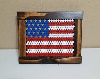 American flag framed bullet casings