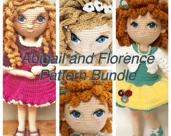 Abigail & Florence Bundle - Crochet Amigurumi Doll Pattern -  2 x PDF downloads