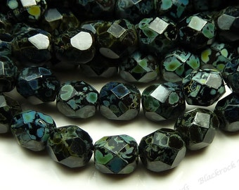 4mm Jet Black Picasso Czech Glass Beads - 8 Inch Strand (50pcs) - Round, Faceted, Fire Polished - BD38