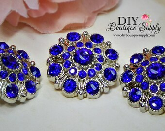 Large Rhinestone Buttons Cobalt BLUE- Rhinestone Crystal buttons Embellishments Acrylic Flower centers Headband Supplies 28mm 3 pcs 603040