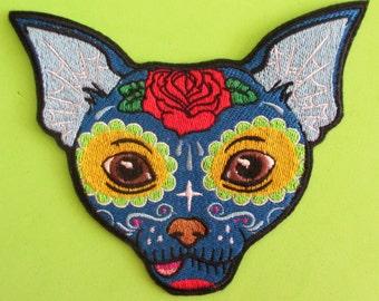Embroidered Chihuahua Sugar Skull Applique Patch, Day of the Dead, Dia de los Muertos, Mexico, Mexican Sugar Skull, Dog Sugar Skull