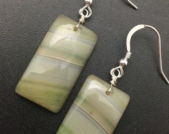 Olive Green Agate Earrings, Agate Earrings, Gemstone Slice Earrings, Gemstone Slab Earrings, Earrings under 50