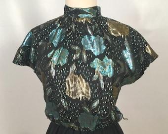 Vintage Black and Metallic Formal Party Dress