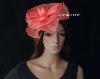 Coral pink sinamay fascinator hat, ideal for Kentucky derby wedding party Ascot races Melbourne cup