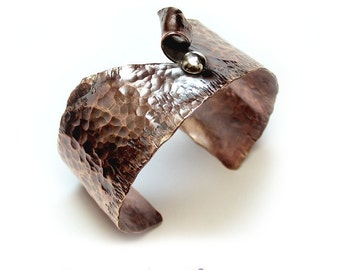 Copper Cuff Wide Hammered Rustic Metalsmith - Modern Relic