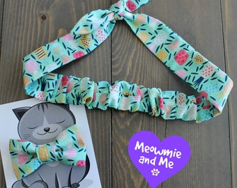 Gift for Pet Moms, Meowmie and Me Matching Bow Tie and Hair Tie, Cat Bowtie, Dog Bow Tie, Headband, Rosie Wrap, Mother's Day, Mint Pineapple