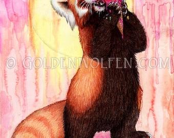 Red Panda Ice Cream Print