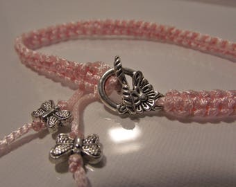 Bracelet Macrame woman Pale pink clasp flower and Butterfly silver pink butterfly beads