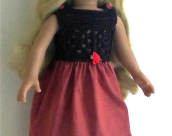 18 inch doll dress, AG party dress with navy blue cotton top and silk skirt, hand crochet, easy button fastening, 18in doll clothes