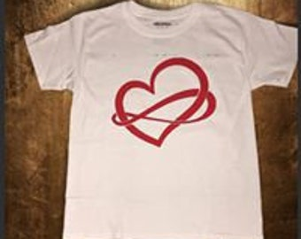 Infinity heart shirt for girl or women