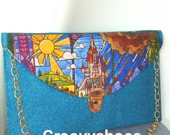 Stained glass beast castle. Clutch bag beauty and the beast bag
