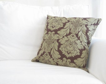brown decorative pillows, brown damask pillow covers, damask pillows, neutral damask pillows, brown couch pillow covers, traditional pillows