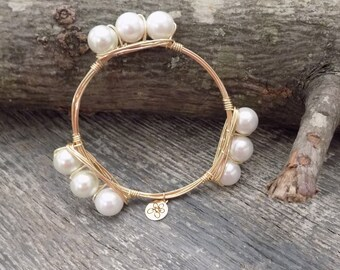 Bourbon & Boweties Inspired Bracelet.  White Pearl Wire Wrapped Bracelet.