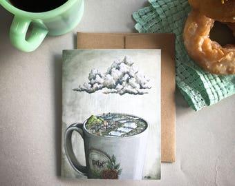Coffee City Portland Card, Portland coffee greeting card, Portland bridges art card, Portland skyline, Portland illustration mug and rain
