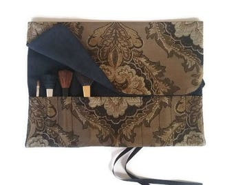 Makeup Brush Roll, Gift for Her, Antique Gold and Black Cosmetic Bag Roll up