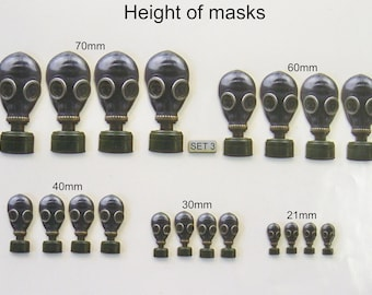 GAS MASKS.  5 Different sizes. (Set 3)