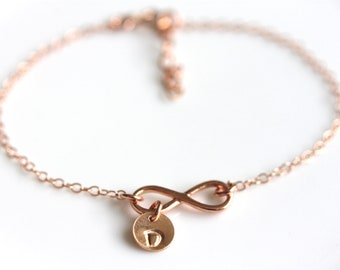 Delicate Infinity Bracelet, Hand Stamped Initials, Rose Gold Filled, Personalized Mothers Day Gift