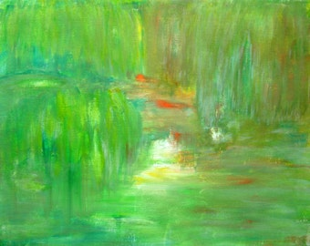 Green Spring Abstract Landscape Painting Acrylic Abstract Canvas Art Green Painting Spring Painting Spring Green Abstract Painting 9x12""