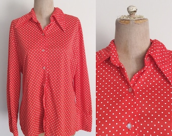 1970's Red Polka Dot Button Up Top Plus Size XL by Maeberry Vintage