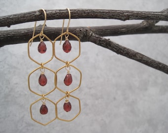 Garnet Earrings - Semi Precious Stones - Chandelier - January  Birthstone - Faceted - Gold - Windowpane -