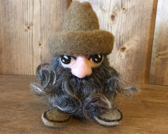 Whimsical Needle Felted Cowboy Gnome - Brown Wool Cowboy Boots, Tan Wool Country Western Hat, Natural Lincoln Locks Beard