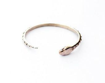 Bronze/Silver Serpent cuff bracelet, Snake cuff, Statement cuff bracelet, nature inspired jewelry