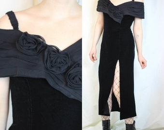 Vintage Black Velvet Dress Stretchy Dress Party Coctail Dress Black Roses Off The Shoulder Dress Glam Dress 80s Velvet Dress