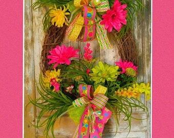 Summer Wreath, Grapevine Wreath, Bright Wreath