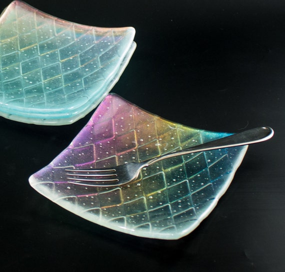 & Clear Fused Glass Plates Dessert Dishes Dinnerware Set