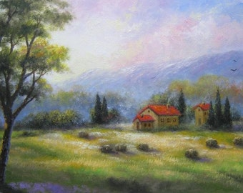 Landscape ORIGINAL Painting 12X24, meadow painting, Italy paintings, farm country landscape, tuscany painting, hay field, Vickie Wade Art