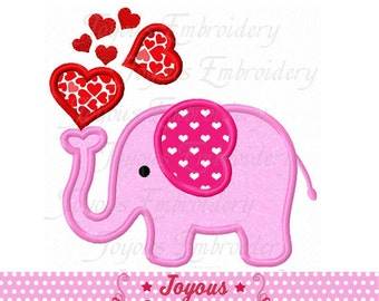 Instant Download Valentine's day Elephant Applique Embroidery Design NO:2252
