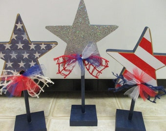 4th Of July Decor, 4th Of July Decorations, Summer Decor, 4th Of July Wooden Star Trio, Memorial Day Decor,Wood Star Shelf Sitter-Americana