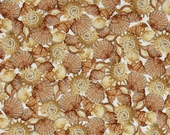 """Ocean Sea Shells Fabric: Sea Treasures - Packed Seashells on cream  by Quilting Treasures 100% cotton Fabric by the yard 36""""x43""""  (QT11)"""