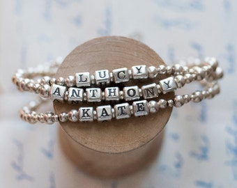 Name Bracelet Sterling Silver, name bracelet, child bracelet, personalized jewelry, mom bracelet, grandma bracelet, Pommier-Benoit
