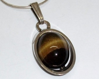 Silver Pendant 835 with Tiger eye pendant SK163