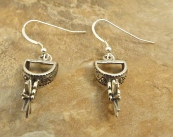 Sterling Silver Spur Charms (they turn!) on Sterling Silver Ear Wire Dangle Earrings  - 1345