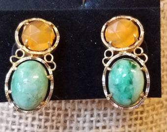 Vintage Sterling clip on earrings, Citrine earrings, nephrite earrings, clip on earrings, sterling earrings, clip earrings