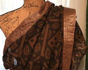 Free Shipping US! Beautiful Cotton Sari, Indian Dress, Geometric print Sari, Earth Colors Sari Dress with Gold Borders, Brown & Gold Sari