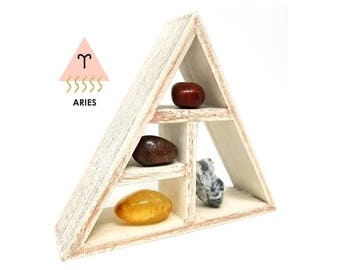 ARIES Zodiac Crystal Set  / Unique Astrology Stones and Wooden Geometric Shelf Holder in Box / Aries Gifts for Her ~ 10