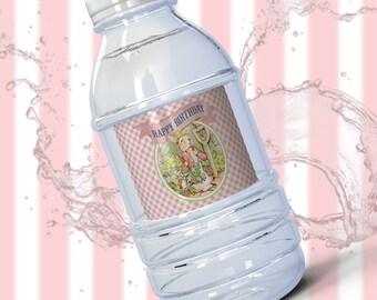 PETER RABBIT BIRTHDAY Water Bottle Label Pink Printable Water Bottle Label Digital Download Instant Download 4002