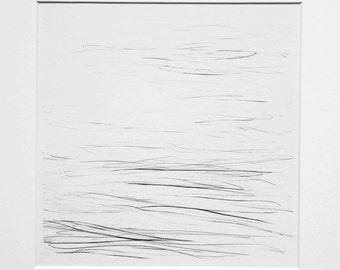 River Surface II - graphite drawing (in mount)