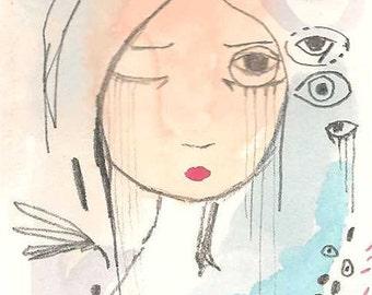 ACEO Original, Whimsical Girl Folk Art Illustration, Sleep Girl, Art, 3.5 x 2.5, Insomnia