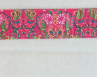 Lilly Pulitzer inspired Pink floral Abstract Grosgrain Ribbon 7/8""