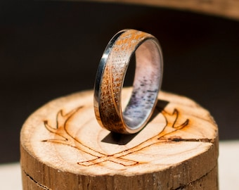 """The """"Ezra"""" - Whiskey Barrel Ring with Antler Lining - Staghead Designs"""